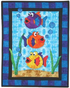 This Ocean Baby Crib Fish Crib Ocean Toddler Quilt, Beach Gender Neutral Fish Ocean Nursery Theme Appliqued Batik is just one of the custom, handmade pieces you'll find in our quilts shops. Cute Quilts, Small Quilts, Mini Quilts, Children's Quilts, Quilt Baby, Quilting Projects, Quilting Designs, Quilting Patterns, Free Baby Quilt Patterns