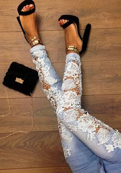 Blue Patchwork Lace Crochet Hollow-out Skinny Fashion Sexy Long Pencil Jean Pants - Pants - Bottoms Diy Jeans, Jeans Pants, Trousers, Jeans Heels, Lace Pants, Cuffed Jeans, Jean Diy, Skinny Fashion, Diy Kleidung