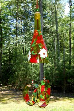 """Wind Chime, """"Strawberry blossom"""" , made from recycled wine bottle -  fashioned  into a Wine-Chime!"""
