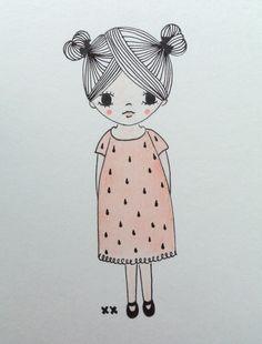 girl illustration | meisje illustratie | kids room | kinderkamer www.kinderkamervintage.nl