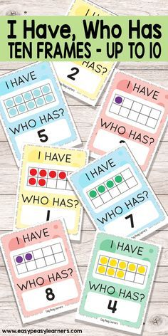 Learning 10 Frames through I Have Who Has card game. primaire I Have, Who Has Ten Frames up to 10 Game - Easy Peasy Learners Numbers Preschool, Math Numbers, Preschool Math, Teaching Kindergarten, Math Classroom, Teaching Numbers, Math Math, Math Stations, Math Centers