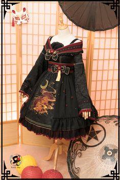 Dream Between Narrow~ Embroidery Lolita OP Dress Harajuku Fashion, Kawaii Fashion, Lolita Fashion, Gothic Fashion, Cute Fashion, Old Fashion Dresses, Fashion Outfits, Fashion Ideas, Fashion Clothes