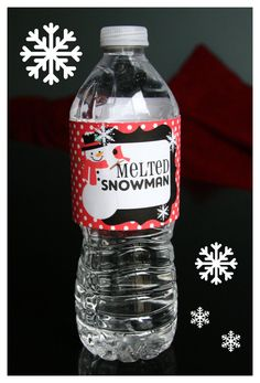 CUTE Printable Melted Snowman Water Bottle Labels. $3.00, via Etsy.