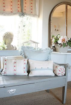 The Paper Mulberry: Romantic French Fabrics - Powder Blue...with a touch of red. Love!