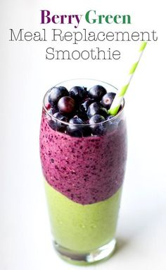 Berry Green Smoothie: Perfect for a meal replacement. Loaded with healthy fats and proteins, vitamins and minerals, fiber, goodness + it's delicious!