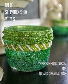 Ombre St. Patrick's Day Votives   TodaysCreativeBlog.net