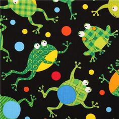black dotted frog animal fabric Timeless Treasures 2