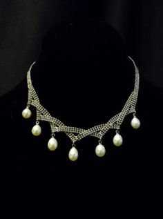 """Charming 7 teardrop pearls on white gold plate open weave necklace, with 4"""" extender chain to vary length"""