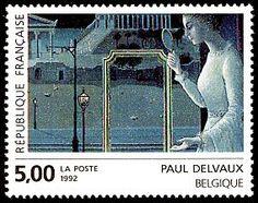 Paul Delvaux - Belgique «Le rendez-vous d´Ephèse» (détail) Art contemporain en Europe - Timbre de 1992