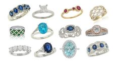 Lindo Gemstone e anéis de diamante