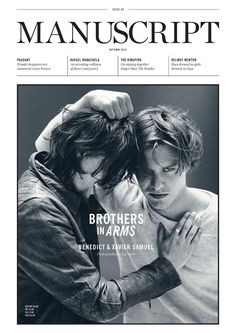 Benedict and Xavier Samuel cover the Autumn 2012 issue of Manuscript magazine photographed by Liz Ham and styled by Jolyon Mason. Editorial Layout, Editorial Design, Layout Inspiration, Graphic Design Inspiration, Xavier Samuel, Typography Magazine, Magazine Cover Design, Magazine Covers, Visual Communication