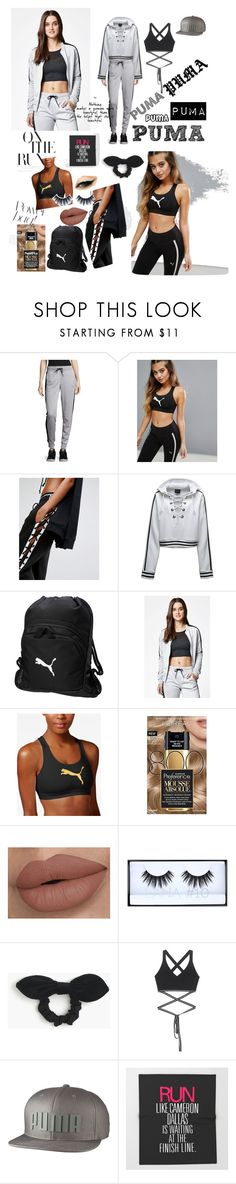 """To the Gym w/ My BFF in PUMA Snatched"" by gothgirl87454 ❤ liked on Polyvore featuring Puma, PacSun, L'Oréal Paris, Huda Beauty and J.Crew"