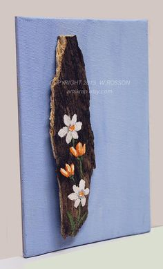 Small Flowers on Tree Bark  Recycled Wood Original by artskrap, $ 40.00
