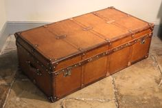 A very large bespoke leather trunk, made exclusively by Brownrigg, in a wonderful tan leather. Due to its generous proportions, this trunk would make a great coffee table.