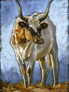 """""""Majestic"""" - oil painting by Amy P. Collins #cows #field #painting #nature #outdoors #animals #family"""