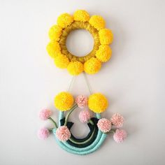 Floral fiber art wall hangings by Mandi Smethells