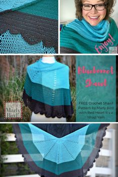 FREE Crochet Shawl Pattern with It's A Wrap Yarn Free Crochet Pattern by Marly Bird™️ Grab a cake of the new It's A Wrap yarn and get the Bluebonnet Shawl on your hook! Great DIY fashion project for summer, free pattern by Marly Bird! Crochet Shawls And Wraps, Crochet Poncho, Crochet Scarves, Crochet Yarn, Crochet Clothes, Free Crochet, Lace Shawls, Crochet Summer, Crochet Designs