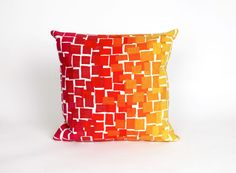 "Ombre Tile Warm 20"" Square Indoor Outdoor Pillow"
