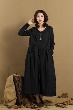 Túnica de lino vestido vestido de gris - Custom Made