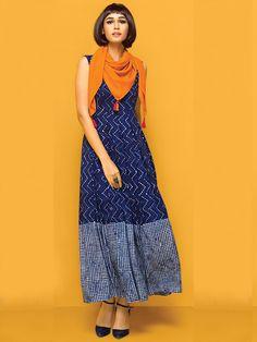 Nidhi Fashion Nitara Navy Blue Cotton Kurti With Stole