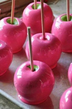 BCA candy apples! Breast Cancer Awareness month is right around the corner, but these could be good all through Autumn!