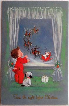 431 70s Santa Through The Window Dog Vintage Christmas Greeting Card | eBay
