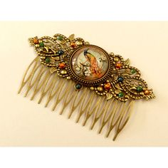 Hair comb with peacock, crystal hair accessories, antique, bird hair... ($37) ❤ liked on Polyvore featuring accessories, hair accessories, antique comb, hair comb, antique hair combs, peacock feather hair accessories and hair comb accessories