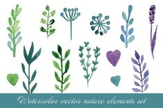 Watercolor nature elements. Vector Graphics Watercolor paintes set with cold color leaves, flowers, hearts and tree branches. Hand drawn waterco by mcherevan