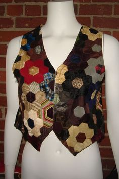 HANDMADE Silk Neck Tie Hexagon Patchwork Lined Vest Velvet Back S/M