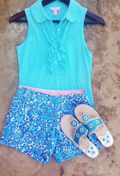 Spring break outfit #6  Top- Lilly Pulitzer Shorts- Lilly Pulitzer (blue sailor's valentine)  Sandals- jack rogers