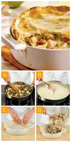 On vous propose le pâté au #poulet à la #bourguignonne en 4 étapes faciles!
