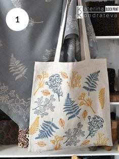 Hand Printed Linen Hand Dyed Natural Ethnic Fabric T… Natural Linen Tote Eco Bag. Printed Linen, Printed Bags, Impression Textile, Fabric Stamping, Fabric Bags, Tampons, Linocut Prints, Pattern Blocks, Textile Prints