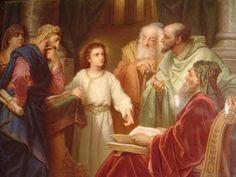 Jesús, a los 12 años, enseñando en el Templo ante los doctores de la Ley.