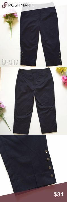 Rafaella pants.  Brand New Without Tags-  Rafaella capris/pants NAVY BLUE  Size 4 Curvy.  Inseam 20.5in -  Waist down 30in.  58% Cotton - 39% Polyester - 3% Spandex Rafaella Pants
