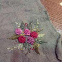 #Embroidery#stitch#needlework  #프랑스자수#일산프랑스자수#자수 #린넨과 자수실에 염색을 해보다~~ 만족~♥♥