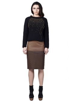 Grid-Print Skirt by Freak Factory Slim Fit Skirts, Knight Costume, 2014 Fashion Trends, Unique Fashion, Womens Fashion, Fall Winter, Autumn, Herringbone Pattern, Printed Skirts