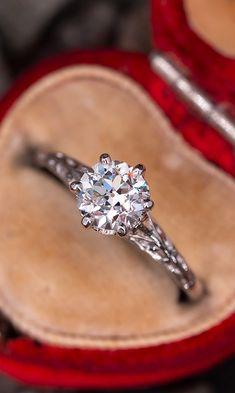 Transitional Cut Diamond Filigree Engagement Ring 1.01ct H/SI1 GIAn.nSku AE17184 Filigree Engagement Ring, Vintage Engagement Rings, Wedding Engagement, Wedding Rings, Diamond Jewelry, Diamond Cuts, Heart Ring, Amethyst, Vintage Jewelry