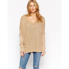 ASOS Jumper With V Neck In Rib With Side Splits (€36) ❤ liked on Polyvore featuring tops, sweaters, camel, beige top, loose fitting tops, v-neck tops, v neck sweater and jumpers sweaters