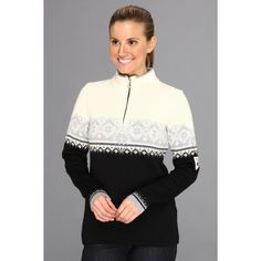 Dale of Norway St. Moritz Feminine Women's Sweater featuring polyvore, women's fashion, clothing, tops, sweaters, white sweater, woven top, quarter zip pullover, dale of norway sweater and pattern sweater