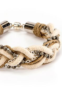 Get twisted up with this fun, DIY Mixed Media Braided Cord Bracelet | FREE TUTORIAL