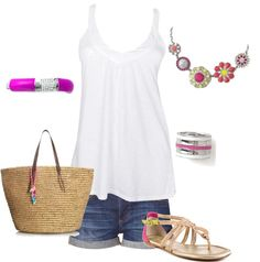 Summer outfit with lia sophia jewelry, created by carmel-d on Polyvore