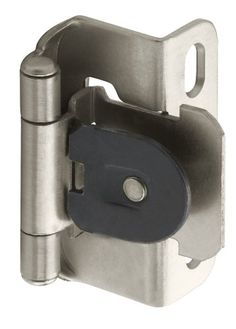 Amerock BPR8719G10 Single Demountable, Partial Wrap Hinge with 1/2in(13mm) Overlay - Satin Nickel - 2 Pack - The Amerock BP8719G10 1/2in(13mm) Overlay Hinge is finished in Satin Nickel. Wide range of mounting options. Dual-spring mechanism for quiet, consistent self-closing power. Reduce labor by simple one-step routing as hinge slips into pre-routed slots. One screw adjusts door in all 3 directions. Co...