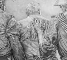 """""""Three Soldiers""""  (Copy after Frederick Hart) Robert C. Tracy Pencil 8 x 9"""" 2001"""