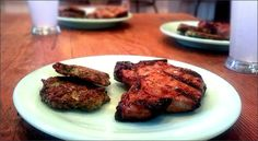 Molasses brined pork finished with an apricot-peach glaze.  Broccoli Parmesan Fritters.