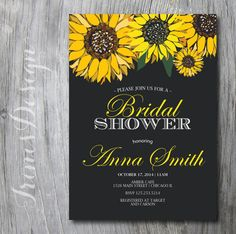 Chalkboard Sunflower Invitation Fall Autumn by irinisdesign