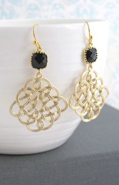Jet Black Gold Plated, Gold Chandelier Filigree Earrings