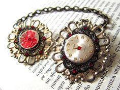 Elegant Steampunk inspired double watch face brooch