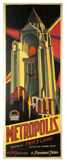 Metropolis is a 1927 German expressionist science-fiction film directed by Fritz Lang. Metropolis takes place in a dystopian society where wealthy intellectuals rule from vast tower complexes, oppressing the workers who live in the depths below them. Metropolis Poster, Metropolis Fritz Lang, Metropolis 1927, Art Deco Posters, Cinema Posters, Retro Poster, Vintage Posters, Old Movies, Vintage Movies
