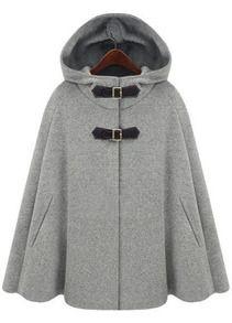 Cape-Mantel aus Wolle mit Kapuze, grau