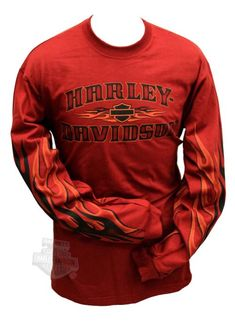 Amazon.com: Harley-Davidson Mens Shade Heat Sleeve Flames Rust Long Sleeve T-Shirt(LG): Clothing
